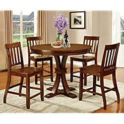 Furniture of America Castile 5-Piece Transitional Pub Dining Set, Dark Oak