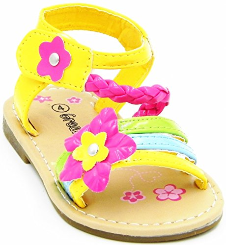 Toddler T-Strap Sandal Cute Spring Summer For Children Multi Color Strap Buckle Sandal Shoes Yellow