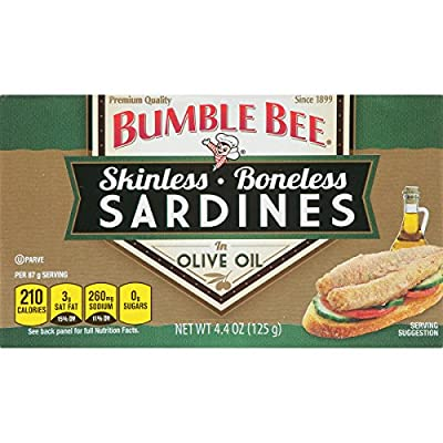 Boneless and Skinless Sardines in Olive Oil, 4.4 Ounce (Pack of 12) from Bumble Bee