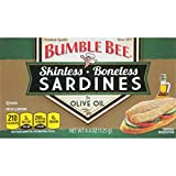 Bumble Bee Boneless and Skinless Sardines in Olive Oil, 4.4 Ounce (Pack of 12)