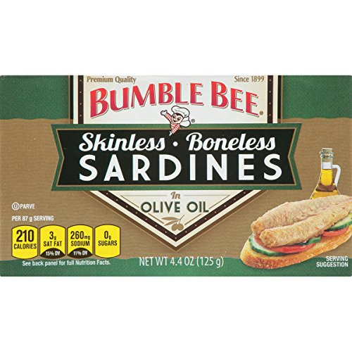 (BUMBLE BEE Boneless and Skinless Sardines in Olive Oil, Ready to Eat Sardines, High Protein Food, Keto Food, Gluten Free Food, High Protein Snack, Canned Food, Bulk Sardines, 4.4 Ounce (Pack of 12))