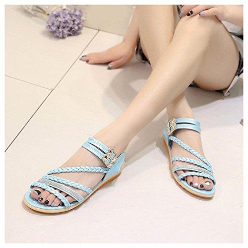 Sandalias De Verano, Inkach Moda Mujer Sandalias De Verano Pendiente Con Chanclas Mocasines Zapatos Azul