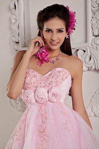 traegerlose Cocktailkleid handgemachte Blumen Rosa kurze Organza GEORGE Rosa BRIDE PxqXTw0nE