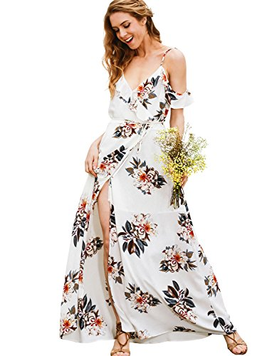 Simplee Apparel Women's Strap Ruffle Cold Shoulder Floral Print Wrap Maxi Dress Beach White