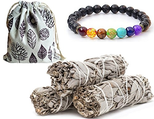 Sage Smudge Stick Set White California, 3-4 Smudging Sticks with Natural Burlap Storage Bag, BONUS 7 Stone Chakra Bracelet & Positive Vibes Empowering Dreams Globally (Inch Rock Lava 4 1)