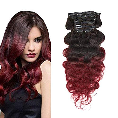 Ombre Body Wave Human Hair Black Fading to Burgundy 14 Inch Extensions Clip in Human Hair Brazilian Virgin Hair Double Weft 7 Pieces/set (100g 14