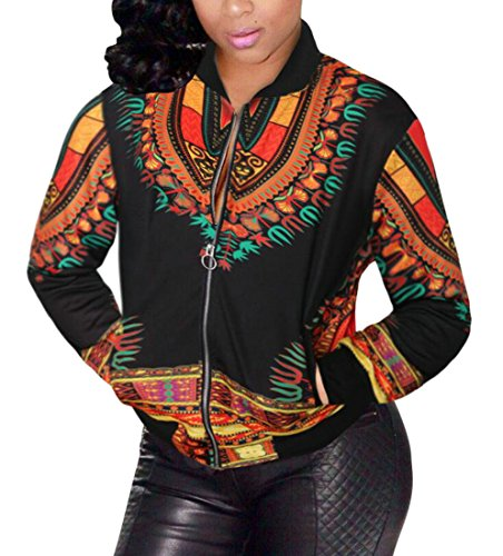 Domple Women's Casual Pockets Dashiki African Print Bomber Zipper Jacket Black 3XL by Domple (Image #3)