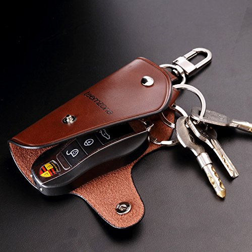 Unisex Real Leather Key Bag Key Chain Case Car Key Holder (Brown) Photo #9