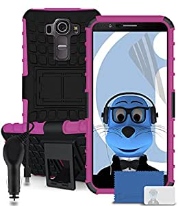 iTALKonline LG G4 H815 Pink Black Tough Hard Shock Proof Rugged Heavy Duty Case Cover with Viewing Stand, 3 Layer LCD Screen Protector and 1000 mAh Coiled In Car Charger LED Indicator and Overload Protection