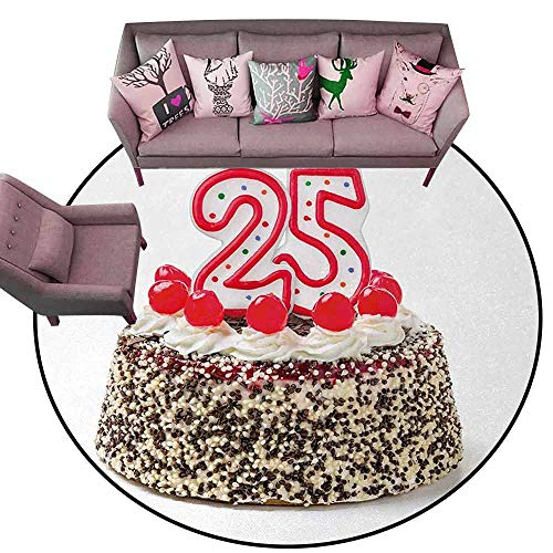 Bathroom Carpet 25th Birthday,Number Candles Twenty Five on Chocolate Cherry Cake Yummy Artwork Print,Red Cream Brown Diameter 48