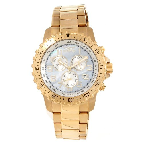 Gold Plated Mop Dial - Invicta 14848 Men's Specialty Chronograph MOP Dial Gold Plated Steel Watch