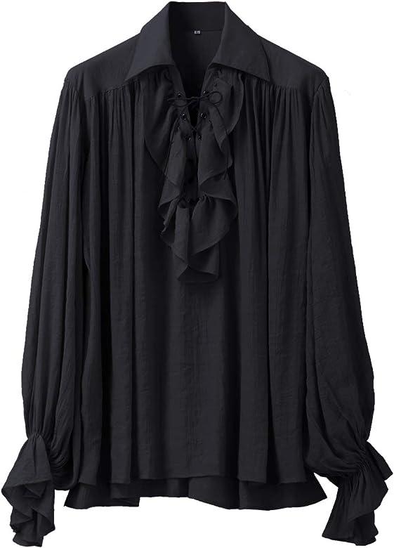 GRACEART Hombres Pirata Camisa Disfraz (XS, Black): Amazon.es: Ropa y accesorios