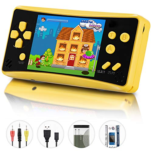 Retro Plus Handheld Games for Kids Adults, 218 Classic Games Built in Portable Arcade Video Games Player 3.5 Inch TFT Big Screen Rechargeable Li-ion, Support AV Output,Earphone,Volume Control -Yellow