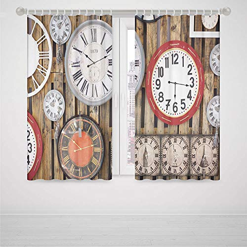 iPrint Eclipse Blackout Curtains Blue Clock Decor Antique Clocks on The Wall Instruments of Time Vintage Decorative Pattern High-Precision Blackout CurtainBrown and (Function Porthole Clock)