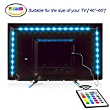 under cabinet hdtv - LED TV Backlight, Maylit 2M/6.56ft RGB Neon Accent LED Lights Strips For 40 To 60 IN HDTV Neon Light Bias lighting with Remote, USB LED Strips TV Backlight