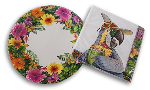 Tropical Parrot Party Supply Kit - Beverage Napkins and Cake Plates