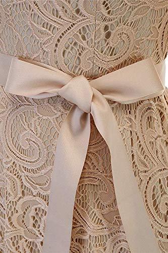 Beige Soire Florale de MisShow en Mariage Mi 3 Dentelle Elgante 4 Manche Robe Ceinture Longue pour avec aEq77F5