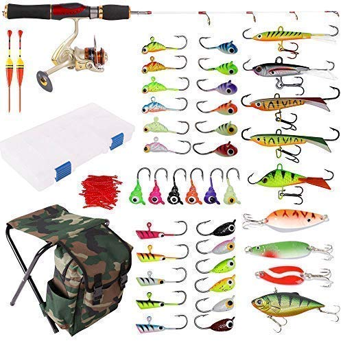 Dr.Fish 40-Pieces Ice Fishing Rod Reel Combo Complete Kits with Backpack Seat Box Ice Jig Rap Shad Spoon Catch Ready (Seats Fishing Ice)