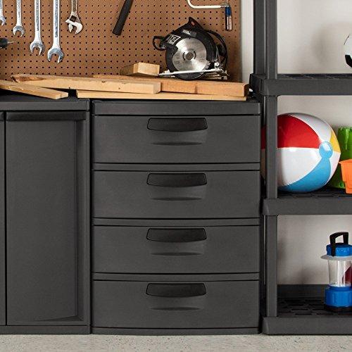 Sterilite 4 Drawers Wide Weave Tower Plastic Storage Cabinet Organization   Gray