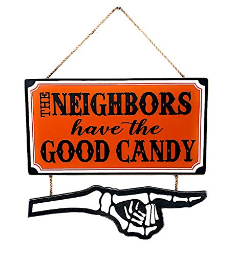 Funny Signs For Halloween (Transpac Halloween Decoration Wall Front Door Funny Sign Decor Neighbors Have The Good Candy)