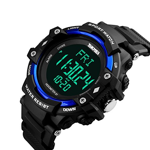 eYotto Men's Fitness Heart Rate 3D Pedometer Count Down Timer Multi-function Sports Digital Wrist Watch