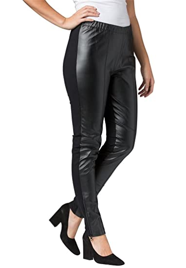 81e8c12c564 Jessica London Women s Plus Size Ankle Zip Leather And Ponte Jeggings -  Black