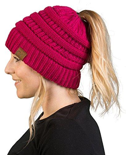 BT-6020a-24 Messy Bun Womens Winter Knit Hat Beanie Tail - Hot Pink -