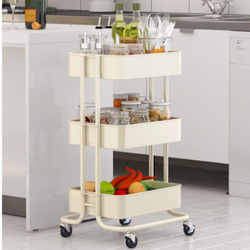 HUO Trolley Household Shelf Floor Removable Kitchen Storage Rack - 3 Color-453874cm (Color : White)