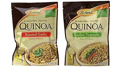 Roland Gluten-Free Quinoa Mix 2 Flavor Variety Bundle: (1) Roasted Garlic, and (1) Garden Vegtetable, 5.46 (Roland Garlic)
