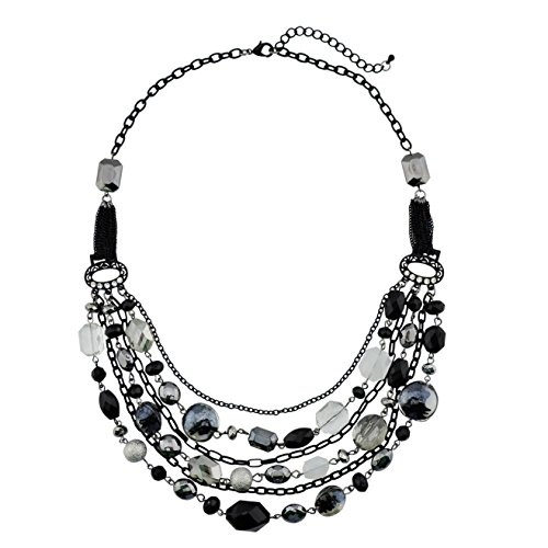 Bocar Newest Multi Layer Chain Crystal Colored Glaze Statement Women Necklace (NK-10061-black)