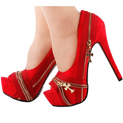 Show Platform Heel Peeptoe Multi Zip Story lf80836 High Stiletto Red Punk Pump colour rBRWr6xn4