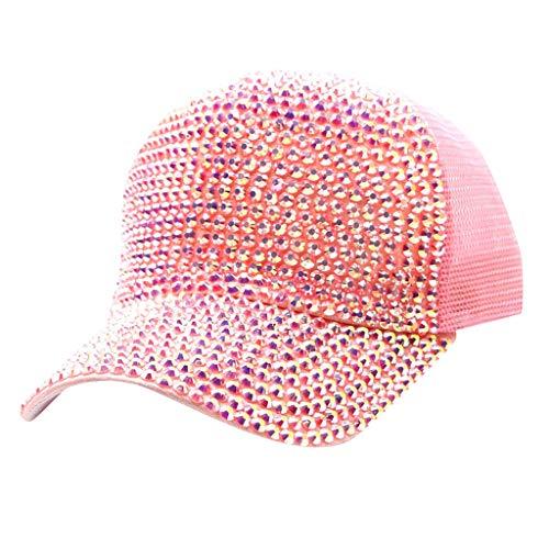 FEDULK Womens Men Novelty Baseball Cap Mesh Breathable Sun Hat Stretch Relaxed Fit Caps(Pink)
