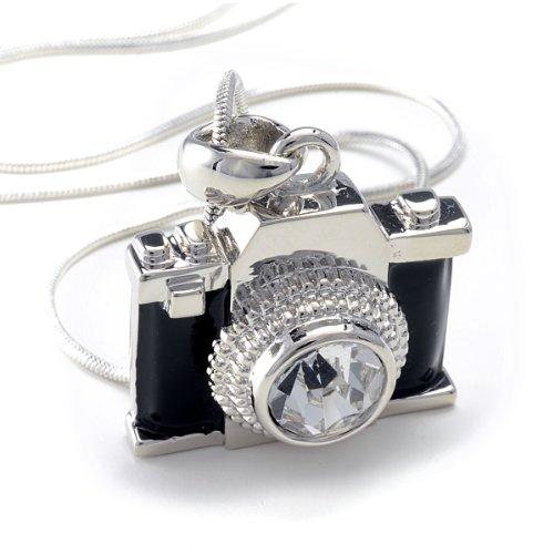 PammyJ Silvertone Miniature Camera Pendant Photography Crystal Necklace, - Camera Necklace Pendant