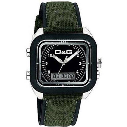 D&G Dolce&Gabbana DW0297 - Reloj analógico - digital de caballero de cuarzo con correa textil verde