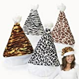 Set of 4 - Velour Animal Print Santa Hats - Zebra, Leopard, Giraffe and Tiger - Great stocking stuffer or Christmas party favor