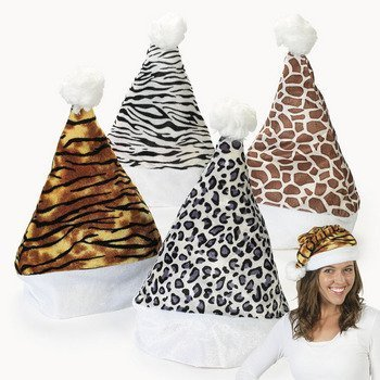 Set of 4 - Velour Animal Print Santa Hats - Zebra, Leopard, Giraffe and Tiger - Great stocking stuffer or Christmas party favor by Fun Express