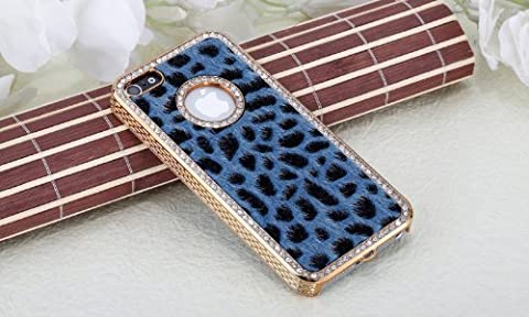 Imprue [TM] Luxury Designer Bling Crystal Leopard Cheetah Blue Fur Hard Case Cover for Apple IPhone 5 (AT&T, T-Mobile, Sprint, (Iphone 5 Cases Cheetah)