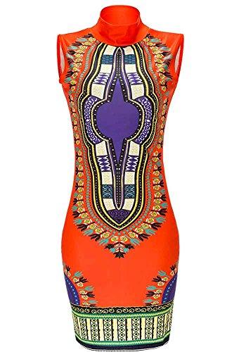 Mini Tradizionale Stampa Di Bodycon4u Alto Bodycon Dashiki Parte Africano Arancione Collo Del Club Donne Tratto Vestito YTwTgO