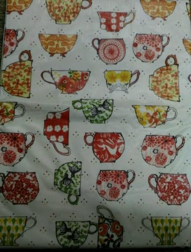 The Pecan Man Tablecloth Vinyl Cover Floral Bird Coffee Cups 52