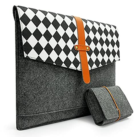 Sinoguo Gray Felt & Leather with Black and White Grid and 2 Pockets Carrying Bag Case Sleeve Pouch Protector Holder for 13