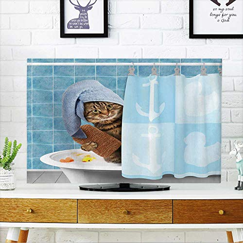 Ext Tub - PRUNUS Front Flip Top Funny cat with Accessories for Bathtub. Front Flip Top W25 x H45 INCH/TV 47