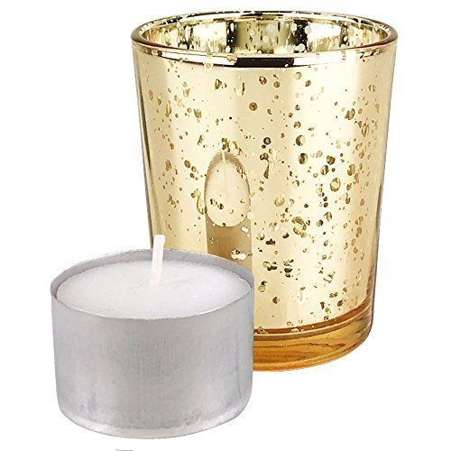 Just Artifacts Speckled Mercury Glass Votive Candle Holder 2.75'' H (12pcs, Gold Votives) - Includes 12, (8 hour burn) non-scented wax tea light candles by Just Artifacts