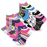 TeeHee Women's Fashion No Show Fun Socks 12 Pairs Packs (Love Peace Lips-Rainbow Hearts)