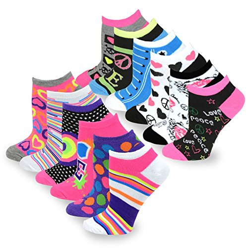 TeeHee Women's Fashion No Show/Low cut Fun Socks 12 Pairs Packs (Love Peace Lips-Rainbow -