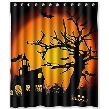Lovely Haunted Mansion Halloween Custom Shower Curtain Stylish Waterproof Polyester Fabric Bathroom