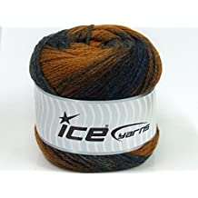 Lot of 2 x 200gr Skeins Ice Yarns CAKES CHAIN Yarn Navy Brown Copper