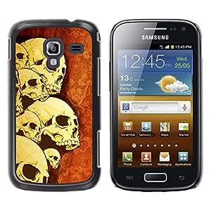 Qstar Arte & diseño plástico duro Fundas Cover Cubre Hard Case Cover para Samsung Galaxy Ace 2 I8160 / Ace2 II XS7560M ( Skulls Skeleton Art War Death Anatomy Head)