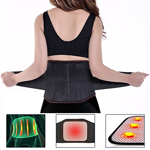 Lumbar Brace, Charminer Lower Back Support Massage Brace Support Belt, Dual Adjustable Self-heating Magnetic Therapy Belt for Pain Relief and Injury for Men Women XXL