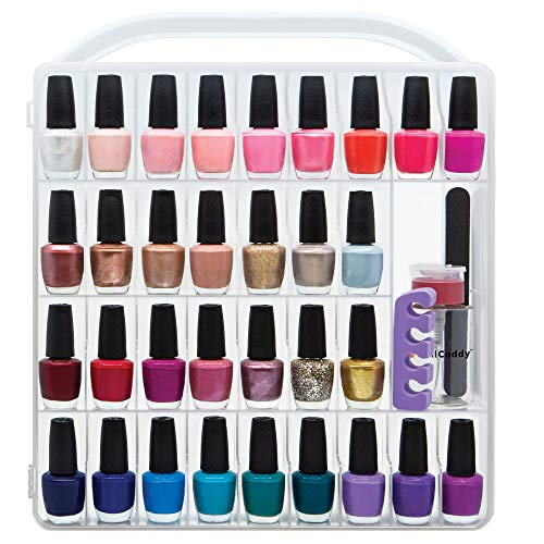 Nail Polish Organizer Storage Holder case - Stores 64 Bottles - Free Polish Remover Bottle (Nail Polish Organizer Case)