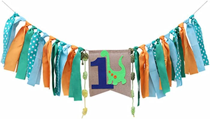 Dinosaur Highchair Banner Baby Boy 1st Birthday Party High Chair Bunting Garland Decoration